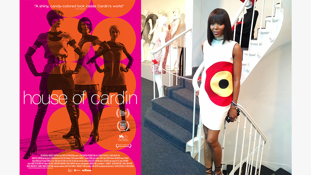 The poster for House of Cardin, Naomi Campbell in the film.
