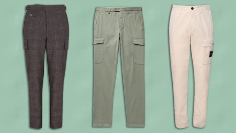 Cargo pants by Cifonelli, Them Sweeney and Stone Island.