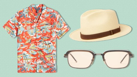 A Polo Ralph Lauren Hawaiian shirt, Borsalino Panama hat and Jacques Marie Mage sunglasses