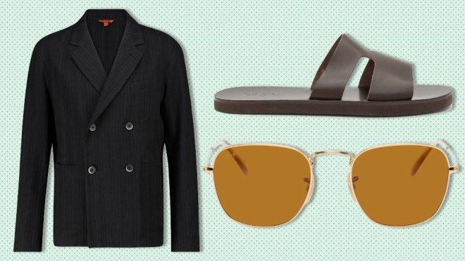 Barena blazer, Ancient Greek Sandals, Ray-Ban sunglasses