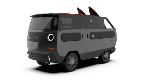 The Electric Brands's eBussy in the Open! convertible pickup configuration