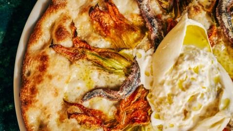 zucchini blossom pizza