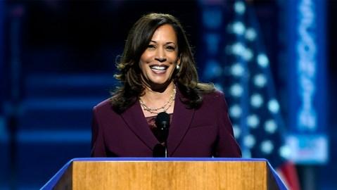 Democratic vice presidential candidate Sen. Kamala Harris in her Irene Neuwirth necklace