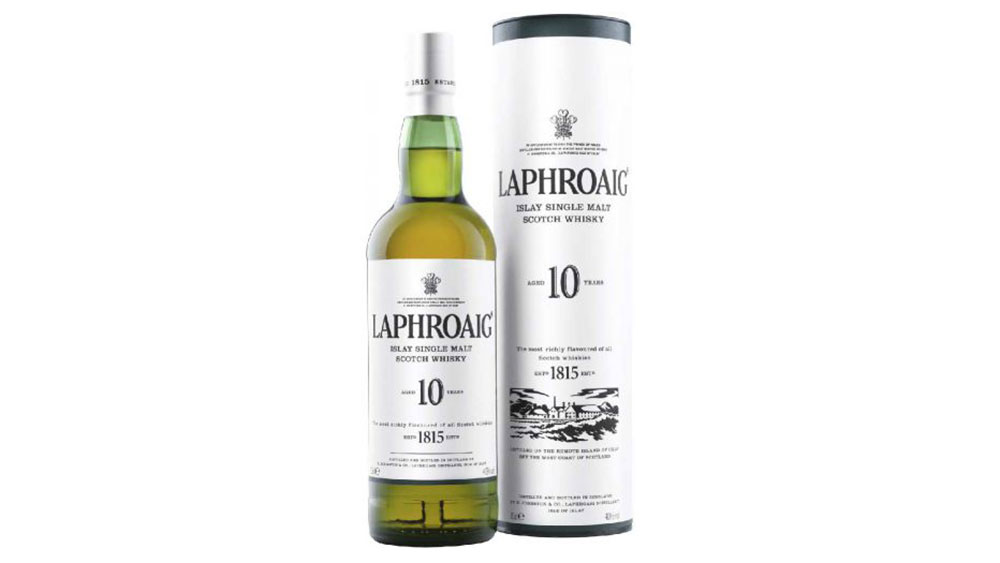 Laphroaig 10 year old single malt scotch whiskey