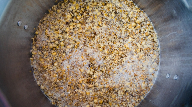 Mashing in a Stainless Kettle a Home Brew Cream Ale  with Crushed Barley and Corn