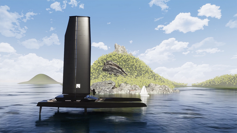 """The Nemesis One with its autonomous """"Oceanwings"""" sail deployed"""