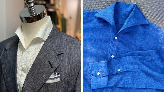 Two versions of Paolo Martorano's sport shirts.