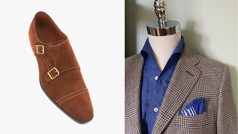 Gaziano & Girling's 'Mayfair' monkstrap; Paolo Martorano's one-piece collar shirt and a jacket.