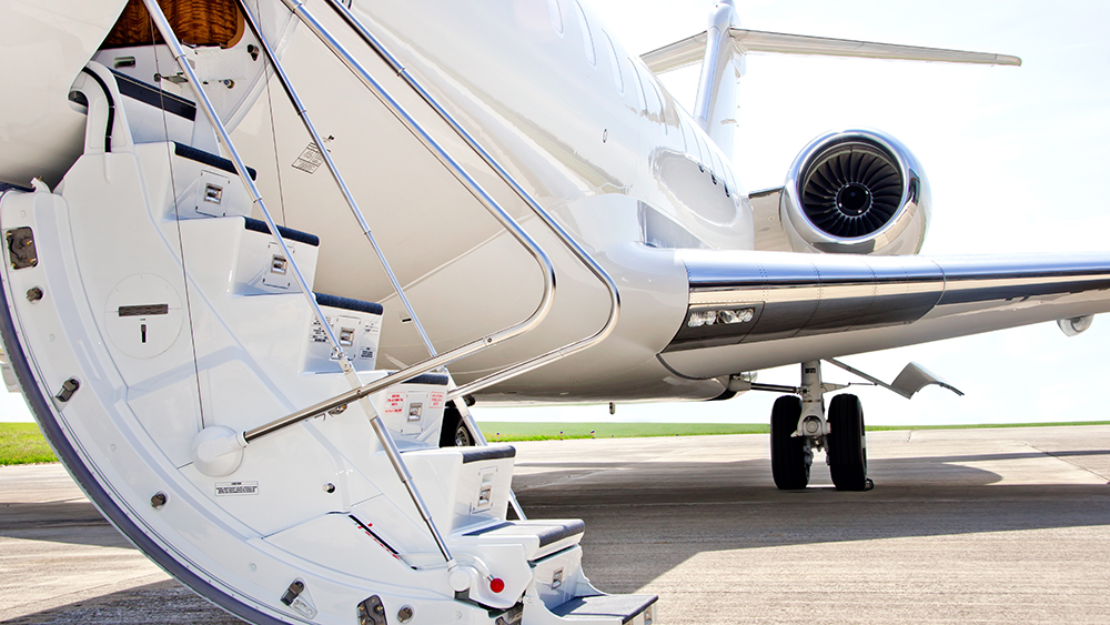 Stairs with Jet Engine on a modern private jet airplane - Bombardier Global Express