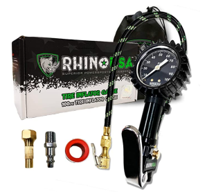 Rhino USA Tire Inflator with Pressure Gauge