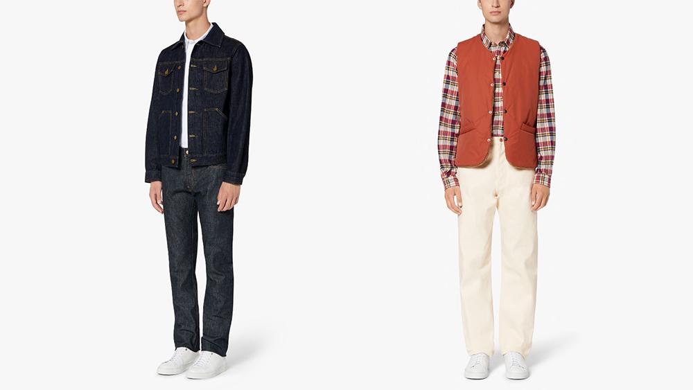 TWC x Mackintosh denim jacket, $309, indigo jeans, $298, cotton vest, $219, and ecru jeans, $309.