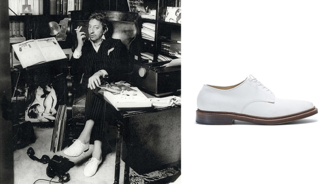 Serge Gainsbourg in his Repetto shoes; Alden x Todd Snyder white bucks
