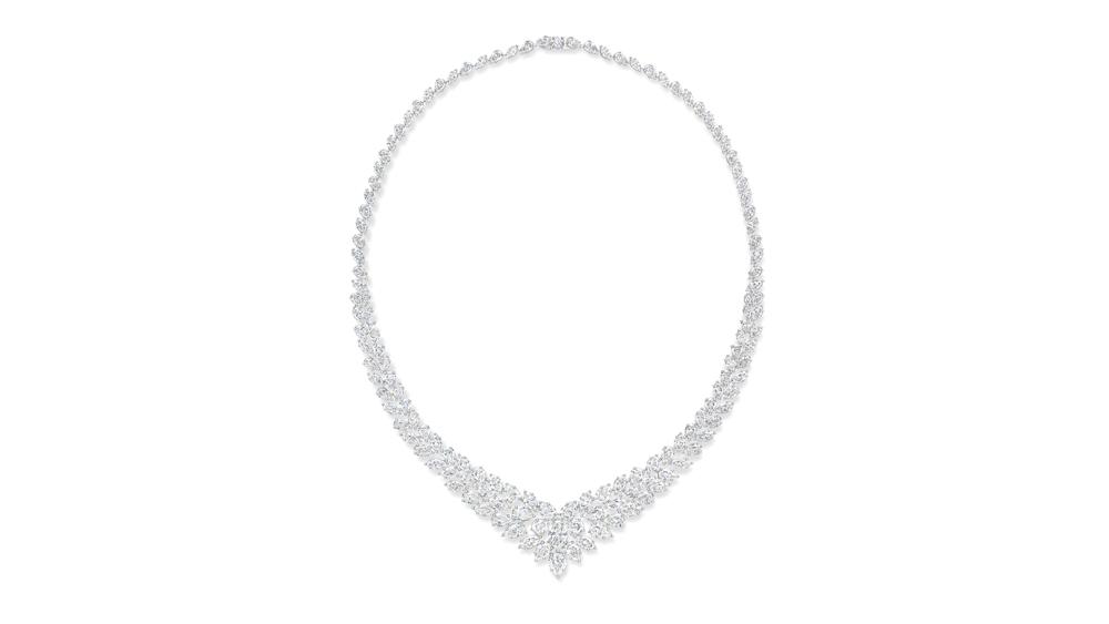Harry Winston Cluster Wreath Diamond Necklace