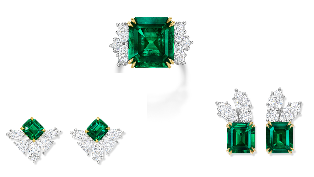 Harry Winston Cluster Emerald Earrings and Rings