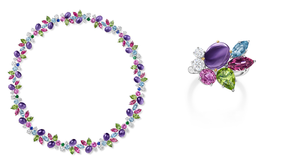 Harry Winston Wreath Necklace in amethyst, sapphires, peridot, euberlite, aquamarine, tsavorite and diamonds