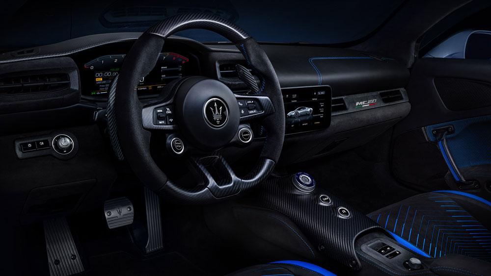 The interior of Maserati's MC20 supercar.
