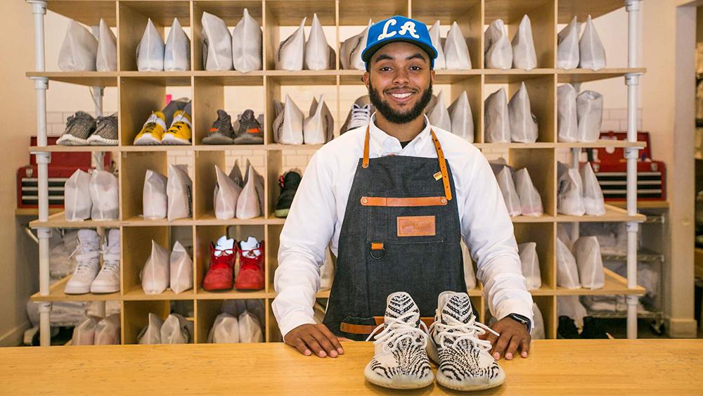 A salesperson in Jason Markk's LA store