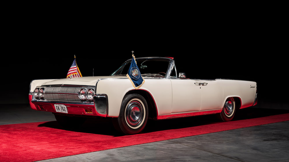 A 1963 Lincoln Continental Convertible used by John and Jackie Kennedy.