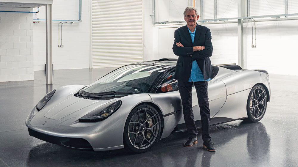 Gordon Murray and his T.50 Supercar.