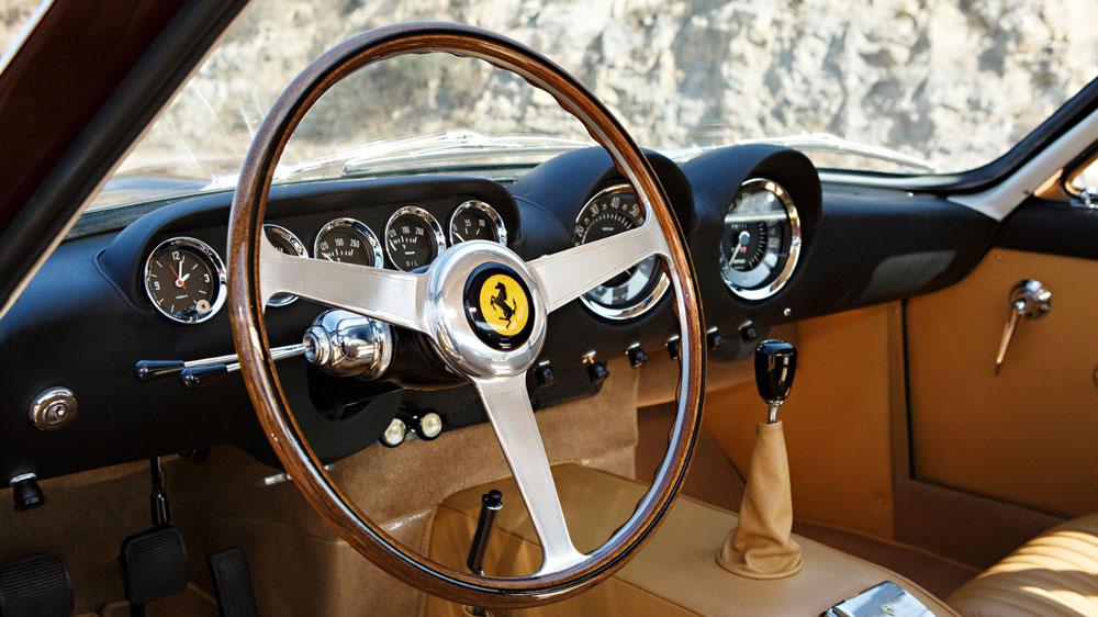 The interior of a 1964 Ferrari 250 GT Lusso.