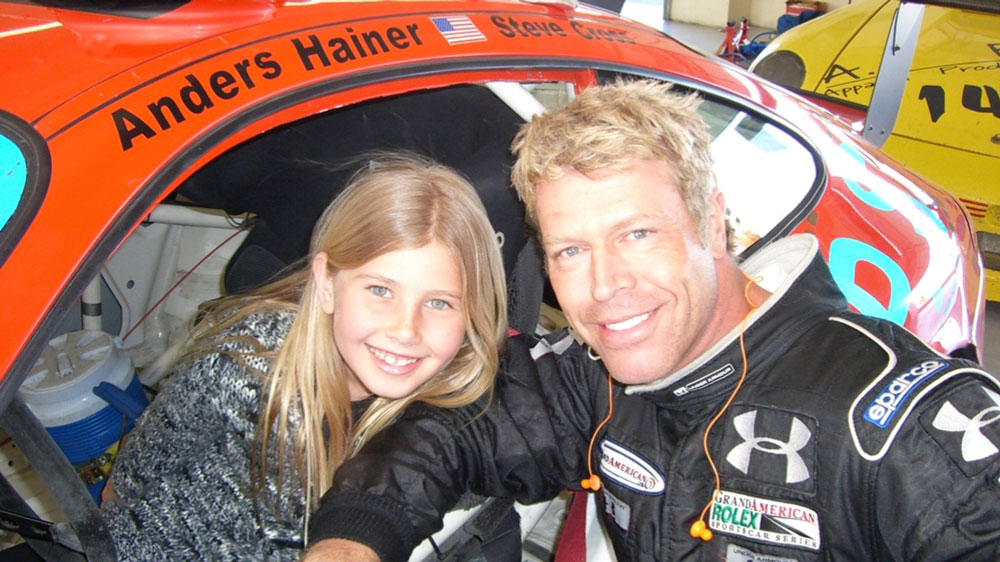 Racer Alex Hainer as a child with and her father, Anders Hainer.