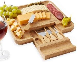 Casafield Organic Bamboo Cheese Cutting Board & Knife Gift Set