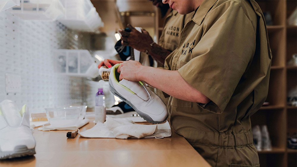 The cleaning process at Jason Markk's London store.