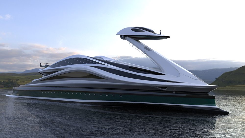 This Bonkers Swan-Shaped Megayacht Concept Has a Detachable Head That Turns Into a Day Boat
