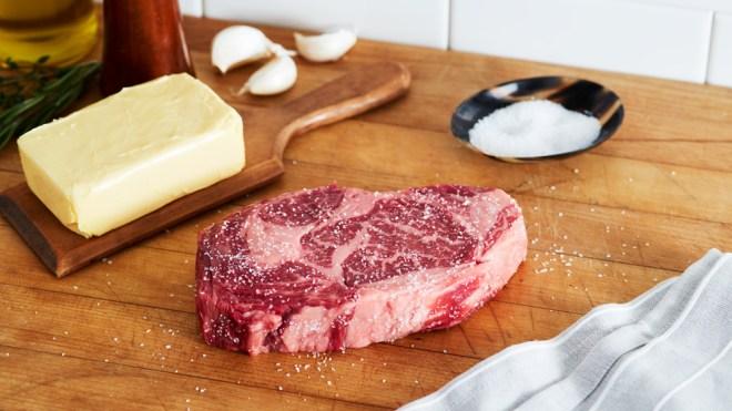 ribeye steak raw seasoned american wagyu