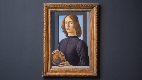 Sandro Botticelli, Young Man Holding a Roundel, ca. 15th century.