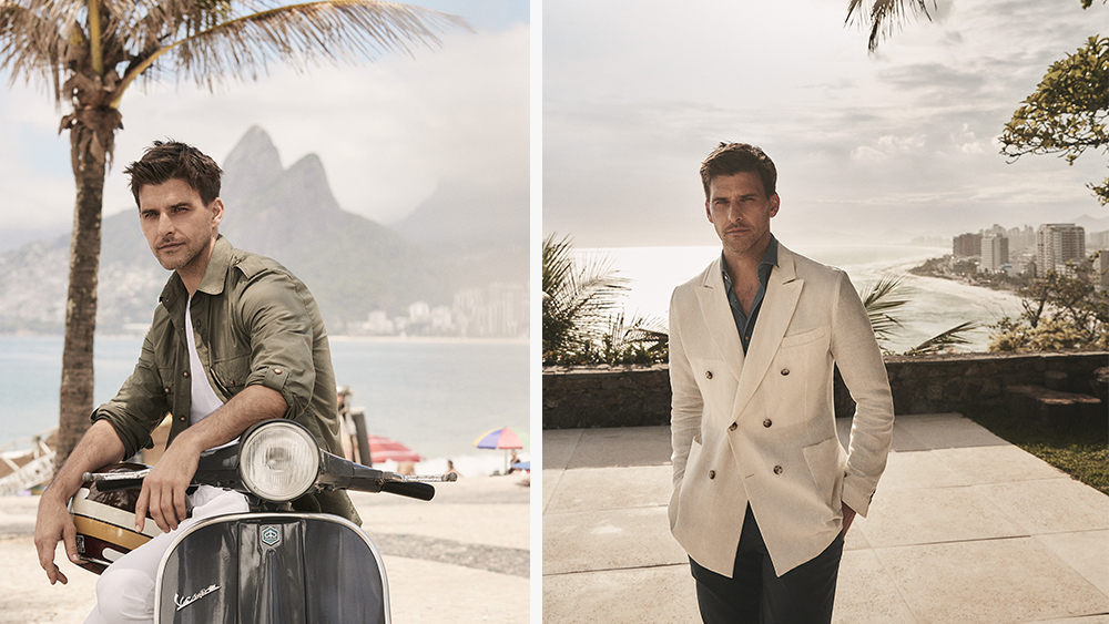 Huebl, photographed in Rio de Janiero, wearing a military shirt, left, and his favorite blazer, denim shirt and chinos from the capsule.
