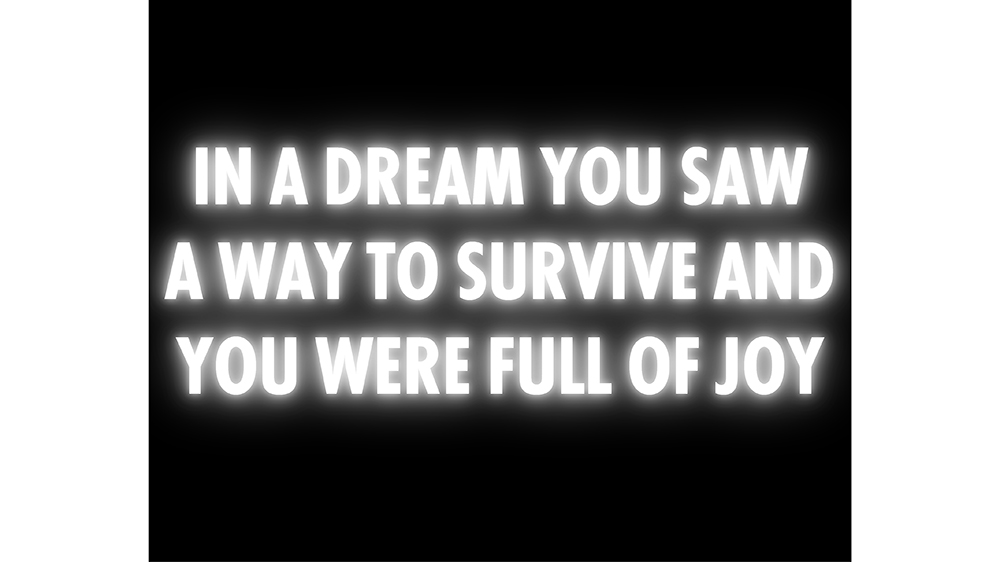 Jenny Holzer's poignant piece, In a Dream You Saw a Way to Survive and You Were Full of Joy