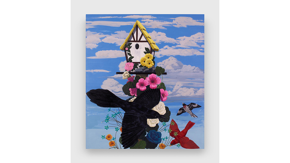 "Kerry James Marshall, ""Black and part Black Birds in America: (Grackle, Cardinal & Rose-breasted Grosbeak)"""
