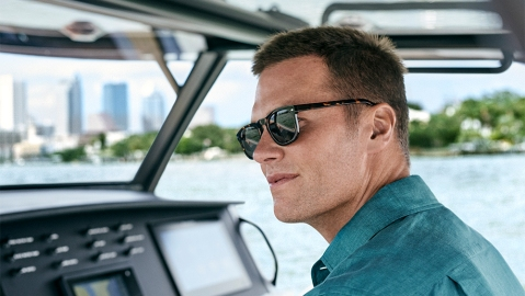 Tom Brady in sunglasses from his collaboration with Christopher Cloos.