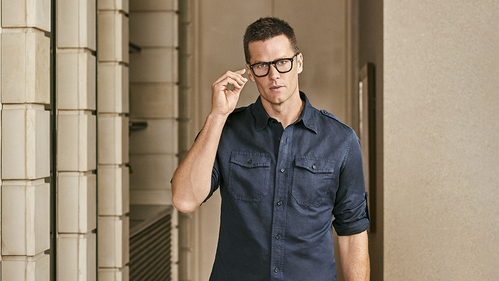 Tom Brady models eyeglasses from his collaboration with Christopher Cloos.