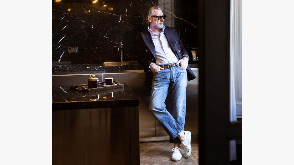 Alessandro Squarzi in a pair from his extensive collection of Big E 501 jeans.