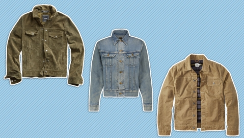 Trucker jackets by Todd Snyder, RRL and Flint and Tinder.