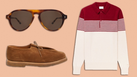 Illesteva sunglasses, Aime Leon Dore polo, Soloviere shoes