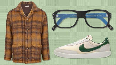 Camoshita jacket, Kingsman x Cutler & Gross glasses, Nike sneakers