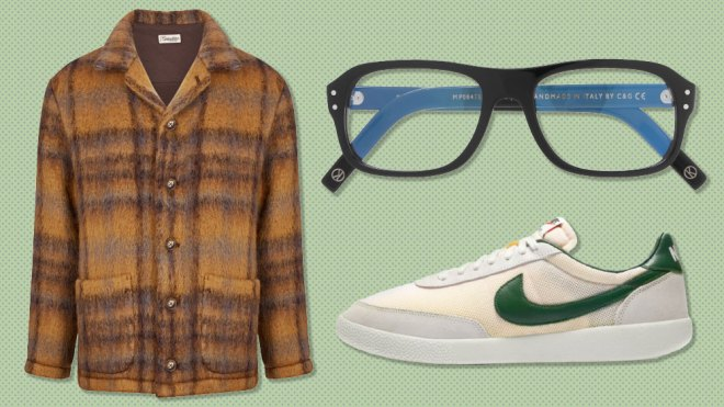 Camoshita jacket, Kingsman x Cutler & Gross glasses, Nike sneakers
