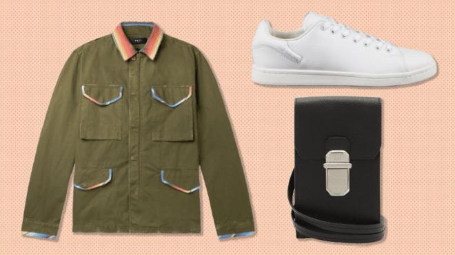 Amiri jacket, Raf Simons sneaker, Dunhill phone case