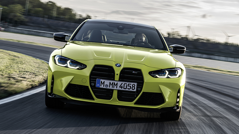 The 2021 BMW M4 and its gigantic kidney grille