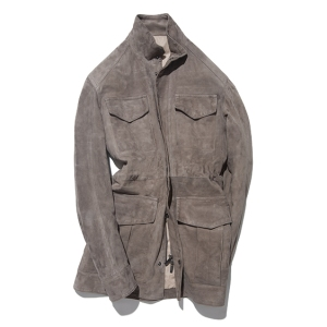 Stòffa's field jacket in taupe suede