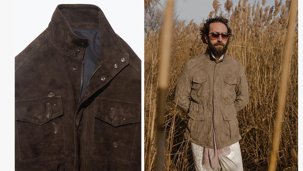 A detail of Stòffa's suede field jacket in chocolate, the field jacket in taupe suede.