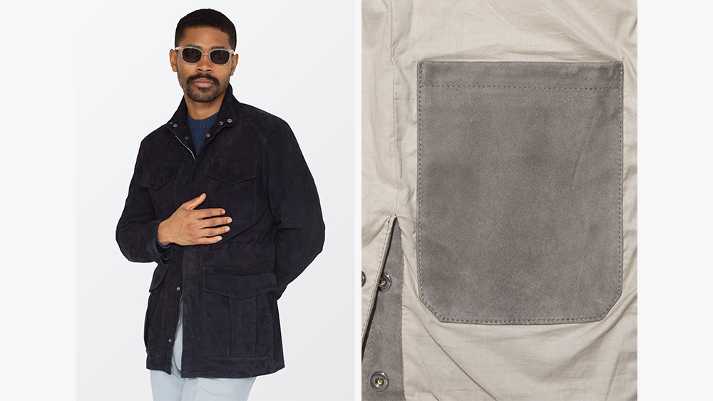 Stòffa's suede field jacket in navy, a detail of the interior pocket.