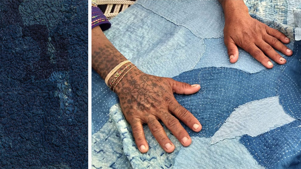Details of chindi embroidery, left, and kantha quilting, right.