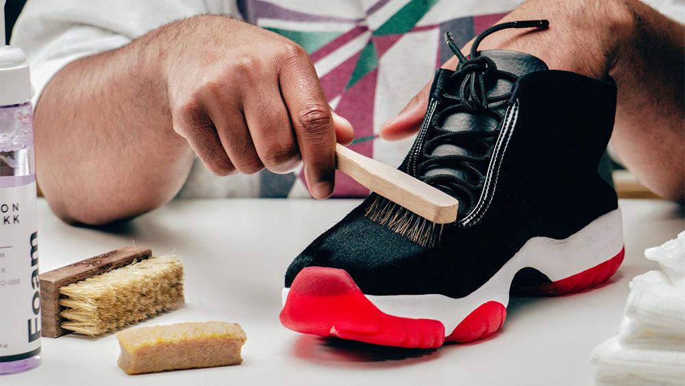 Suede Air Jordan Futures getting a brush.