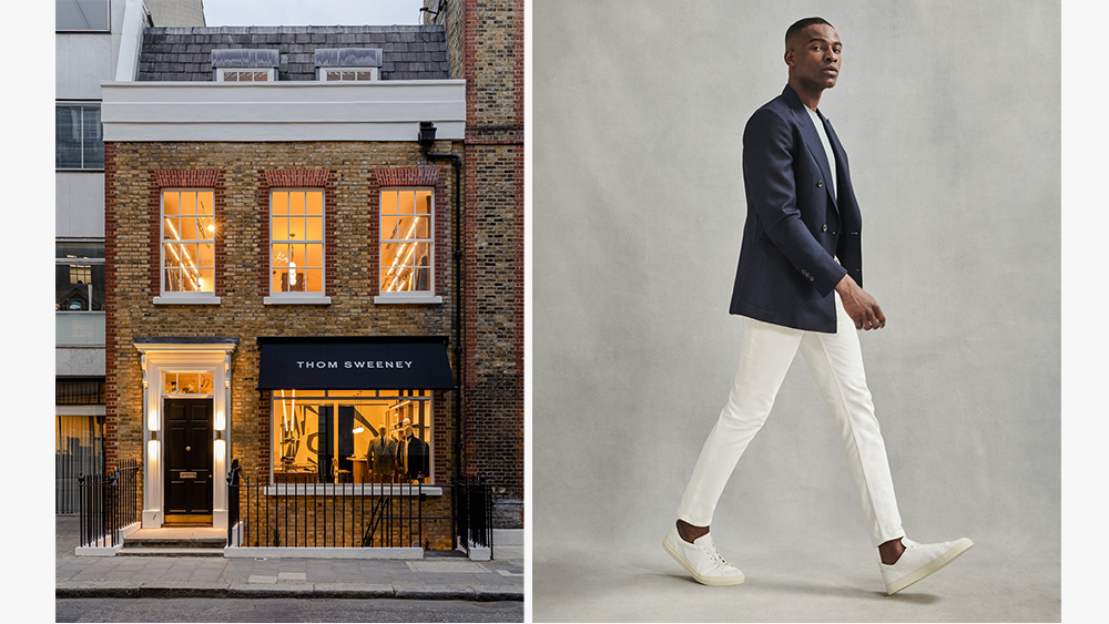 The exterior of Thom Sweeney's new townhouse, a look from the brand's ready-to-wear collection.