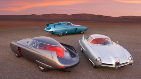 All three Alfa Romeo B.A.T. cars that will be crossing the block at the RM Sotheby's auction on October 28, 2020.