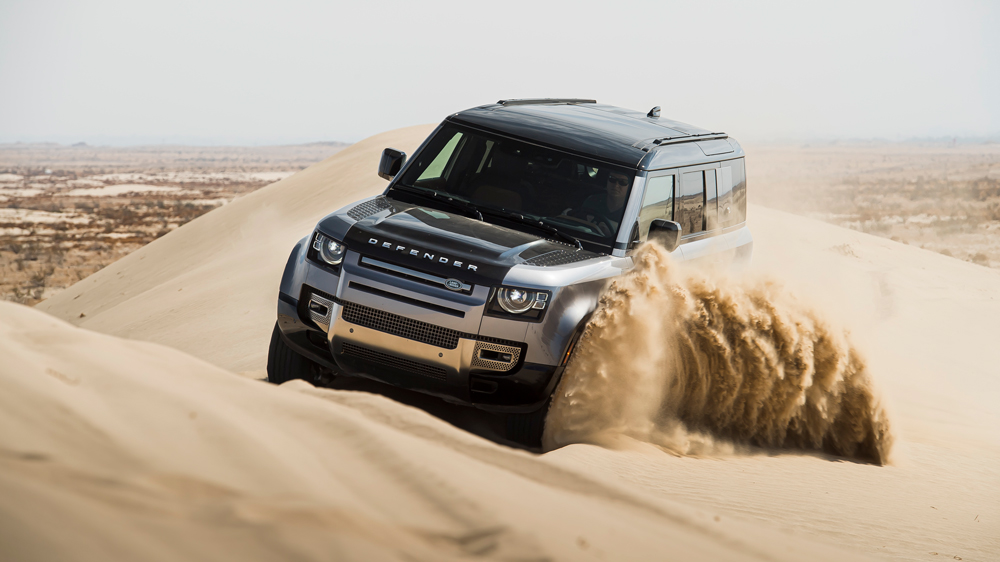 The 2020 Land Rover Defender 110 in the Southern California desert.
